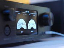 Hifi headphone amplifier with volume pocentyometrem decibels. Stock Image