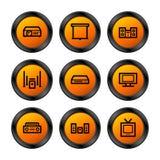 Hifi pictogrammen, oranje reeks Royalty-vrije Stock Afbeeldingen