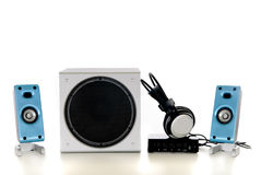 Hifi Sound system 2.1. Computer Hifi Sound system 2.1, satellite, sub woofer speaker, headset and amplifier. Studio, white background stock images