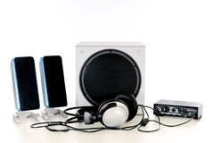 Hifi Sound system 2.1. Computer Hifi Sound system 2.1, satellite, sub-woofer speaker, headset and amplifier. Studio, white background royalty free stock images
