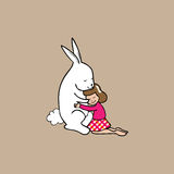Hig girl and rabbit Royalty Free Stock Images