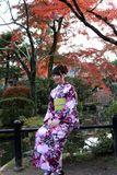 Woman in Kimono dress and green sash sitting with background red leaves in autumn garden at Kiyomizu temple. stock photos
