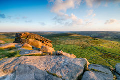 Higger Tor near Sheffield. Gritstone rock formations at Higger Tor near Sheffield in the Peak District National Park Royalty Free Stock Images