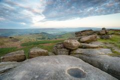 Higger Tor near Sheffield. Rock formations at Higger Tor in the Derbyshire Peak District royalty free stock photo