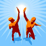 High 5. Concept illustration - two people in high spirit giving hi 5 Stock Photos