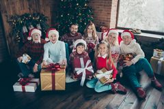 High above angle view portrait of noel large family gathering. G stock images