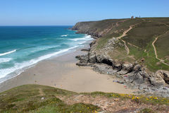 High above Chapel Porth in Cornwall UK. Royalty Free Stock Images