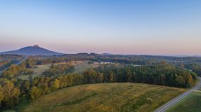 Pilot Mountain. High above view of the gateway to the blue ridge mountains, North Carolina , Mayberry country,Home, Back roads, Pinnacle royalty free stock photography