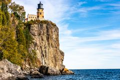 High Above the Waters of Lake Superior Stands Split Rock Lighthouse royalty free stock photos