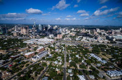 High Aerial Drone view over Austin Texas seen from East looking West Stock Photos