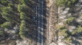 High aerial drone view of an railroad across the spring forest. Rural places stock image