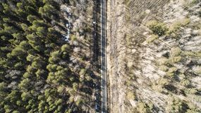 High aerial drone view of an railroad across the spring forest. Rural places royalty free stock photo