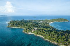 High aerial overview of entire tropical Lipe Island and Andman S royalty free stock photography