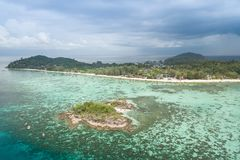 High aerial overview of entire tropical Lipe Island and Andman S stock image
