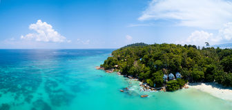 Aerial Panoramic View Tropical Island Clear Sea Stock Photo