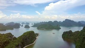 High Aerial View Ocean Fjords Green Islands in Ha Long Bay