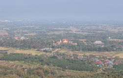 High aerial view of Wat Pra that Cho Hae public temple at Phrae ,Thailand. In the morning royalty free stock photography