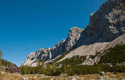 High alpine cottage. In Julian Alps, Slovenia royalty free stock photography