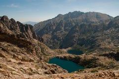 High alpine lakes in Corsica. Lake Mello and Campitello in valley Restonica, Corsica stock images