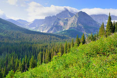 High alpine landscape on the Grinnell Glacier trail in Glacier national park, montana Royalty Free Stock Photo