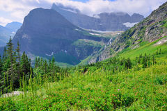 High alpine landscape on the Grinnell Glacier trail in Glacier national park, montana Royalty Free Stock Photography