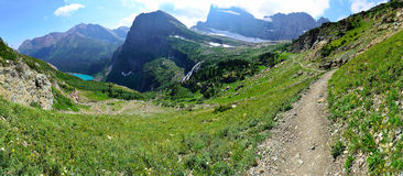 High alpine panoramic landscape of the Grinnell Glacier trail in Glacier national park, montana Stock Images