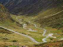 High Alpine Road winding Stock Image
