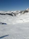 High alpine ski area in the French alps Royalty Free Stock Photography