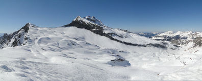 High alpine ski area in the French alps Royalty Free Stock Photo