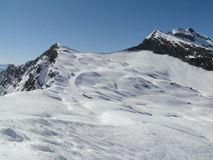 High alpine ski area in the French alps Royalty Free Stock Photos