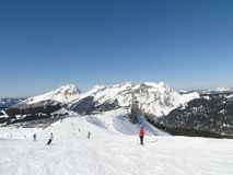 High alpine ski area in the French alps Royalty Free Stock Images