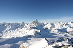 High alps. View on the very high mountain peaks of the swiss alps stock photo