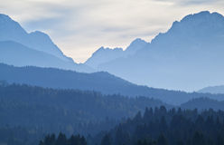 High Alps layers in the dusk Royalty Free Stock Photos