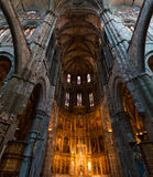 High altar of the gothic Cathedral of Avila. Inside view of the retable and High Altar of the Cathedral in Avila, a Romanesque and Gothic church in the South of Royalty Free Stock Photos