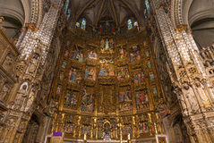 High altar of the gothic Cathedral of Toledo. Inside view of the retable and High Alter of the Cathedral of Toledo (Primate Cathedral of Saint Mary of Toledo) Stock Image