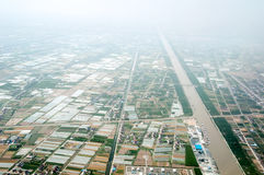 High-altitude aerial view of rural China Royalty Free Stock Image