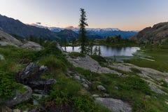 High altitude alpine landscape at dusk Royalty Free Stock Image