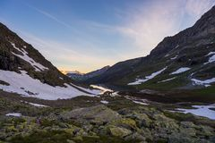 High altitude alpine landscape at sunset Stock Photo