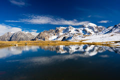 High altitude blue alpine lake in autumn season Royalty Free Stock Images