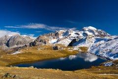 High altitude blue alpine lake in autumn season Stock Photography