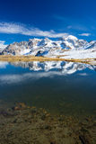 High altitude blue alpine lake in autumn season Royalty Free Stock Photo