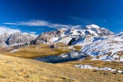 High altitude blue alpine lake in autumn season Royalty Free Stock Images