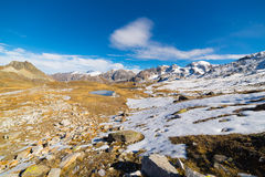 High altitude blue alpine lake in autumn season Royalty Free Stock Photography