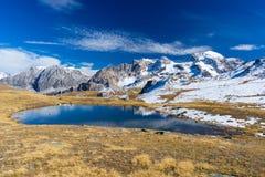 High altitude blue alpine lake in autumn season Royalty Free Stock Photos