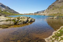 High altitude blue alpine lake in summertime Stock Photography