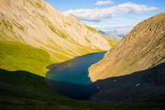 High altitude blue alpine lake in summertime Royalty Free Stock Images