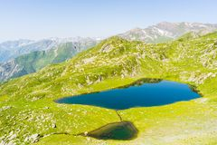 High altitude blue alpine lake in summertime Royalty Free Stock Image