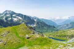 High altitude blue alpine lake in summertime Royalty Free Stock Photo