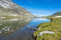 High altitude blue alpine lake in summertime Stock Photos