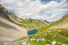 High altitude blue lake in idyllic uncontaminated environment once covered by glaciers. Summer adventures and exploration on the I Royalty Free Stock Image